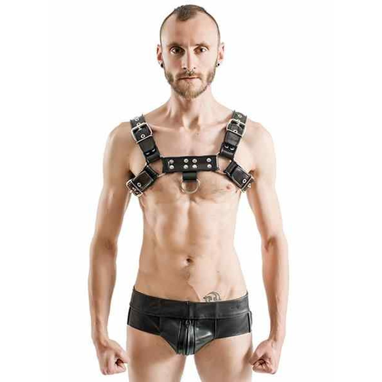 Mister B Rubber Chest Harness Premium Black Black